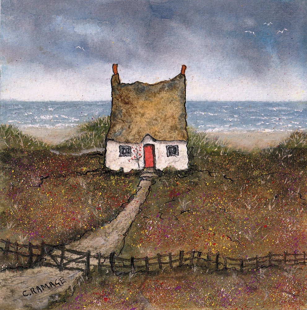 Image of Little Cottage By The Sea (Red Door & Gulls)