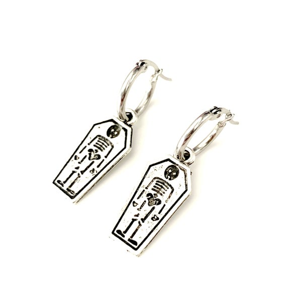 Image of Eternal Rest Coffin Stainless Steel Hoop Earrings