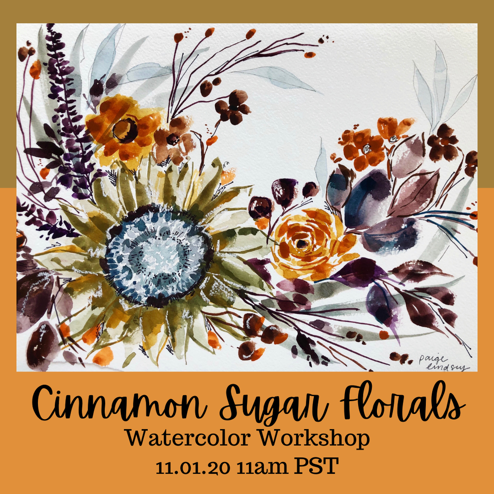 Image of Learn How to Paint Watercolor Cinnamon Sugar Florals