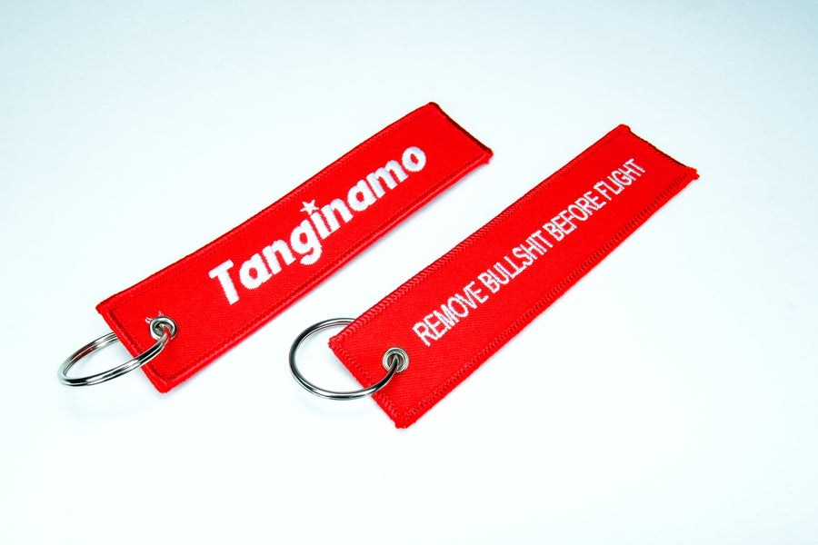 Image of Red Box logo flight/bomber tag.