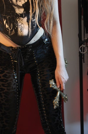 Image of PREDATOR PVC AND BURNOUT VELVET STUDDED PANTS