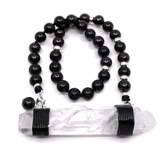 Image of Shungite Choker33 with Mongolian Quartz