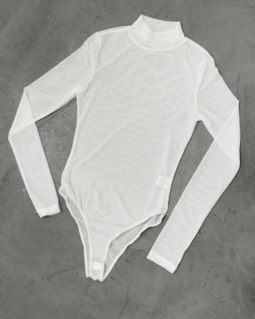 Image of Mesh Mock Neck   White Bodysuit