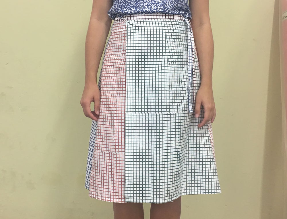 Image of COLOR GRID WRAP SKIRT