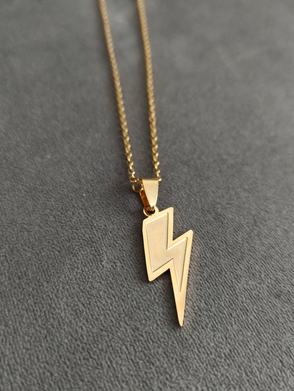 Gold Lightning Bolt Pendant and Chain (Stainless Steel)