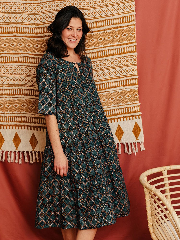 Image of Thais Tiered Dress - Tapestry Print