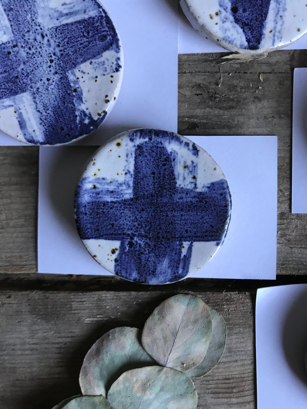 Image of Cobalt cross brooches