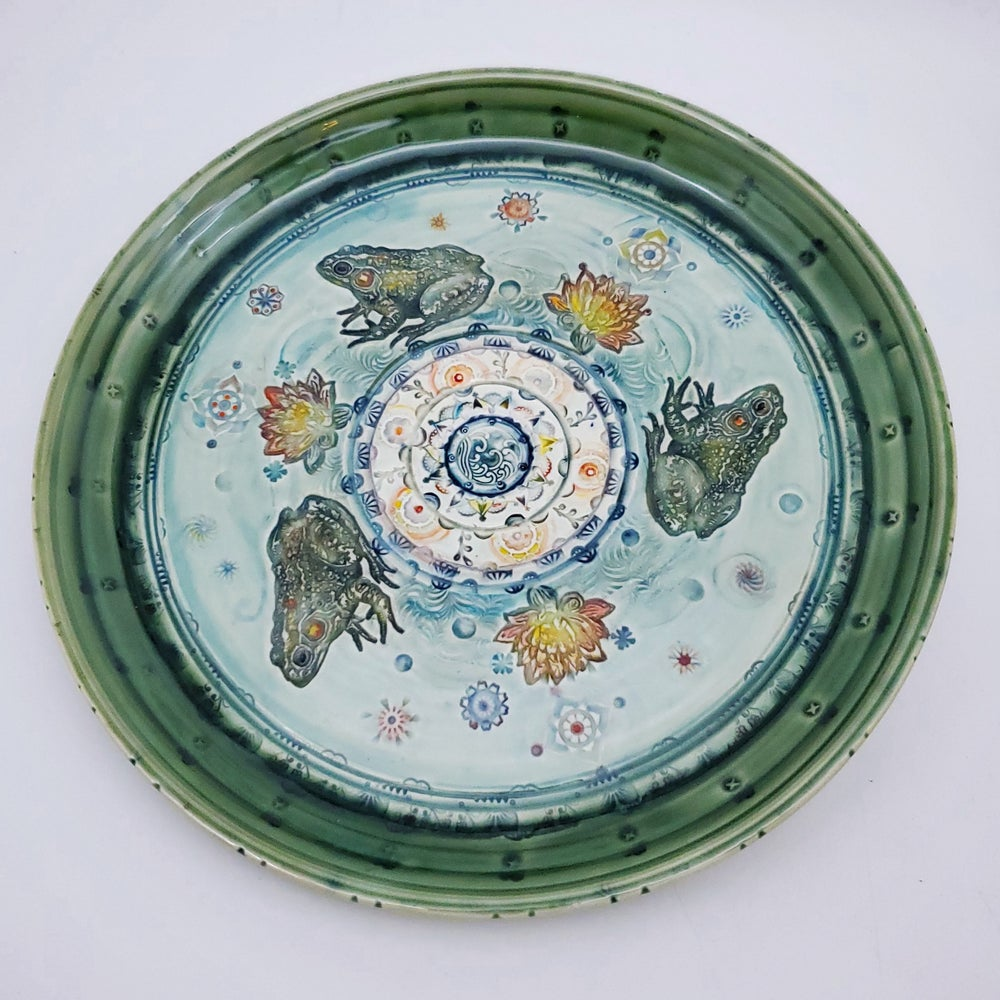 Image of Handpainted Lotus Frog Pond Mandala Plate