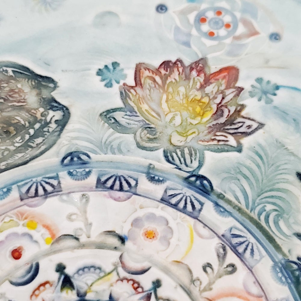 Image of Handpainted Lotus Frog Pond Mandala Plate
