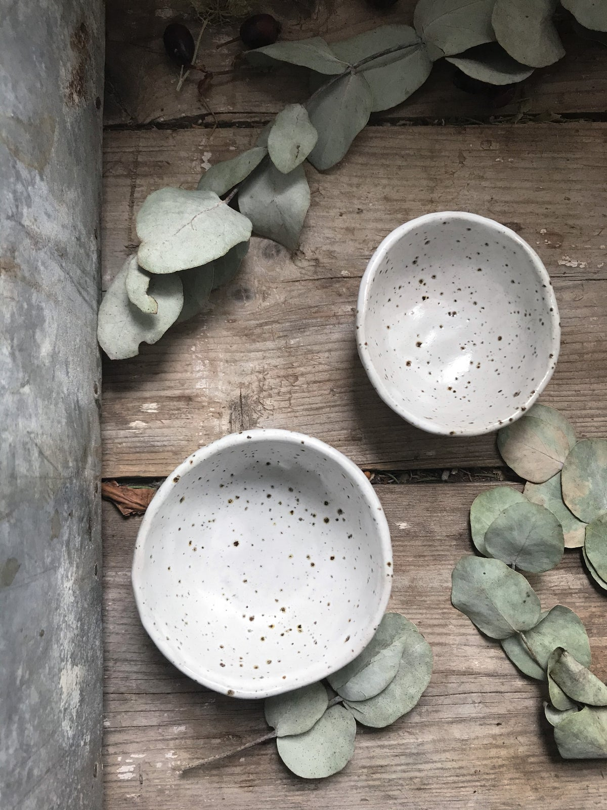 Image of White speckle condiments dish sets