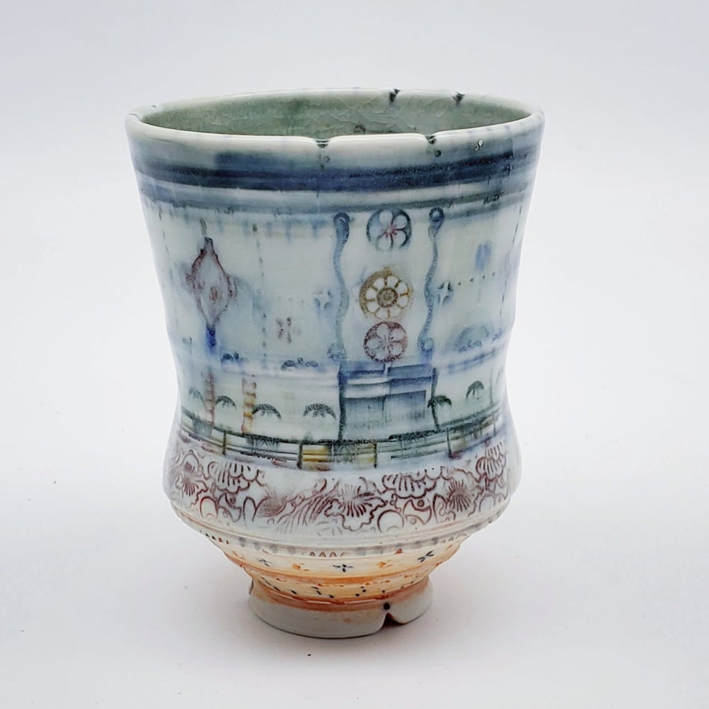 Image of Denim  Flower PorcelainTumbler