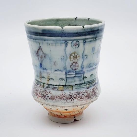 Image of Denim  Flower PorcelainTumbler