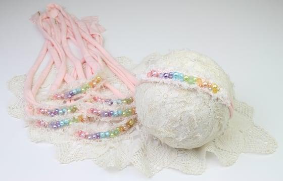 Image of Rainbow Pearl & Crystal Tieback