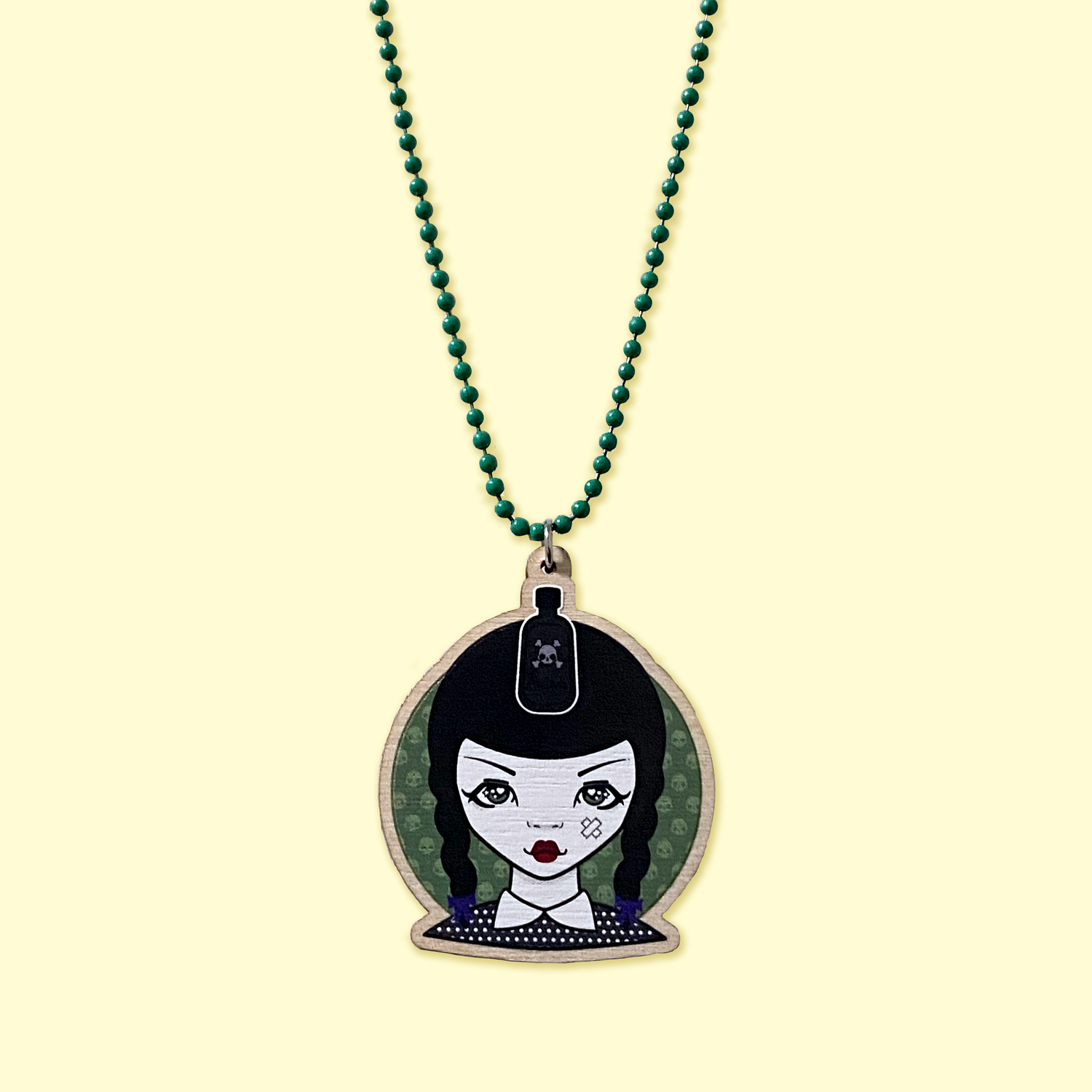 Image of Wednesday Addams x Katsola Wood Charm Necklace