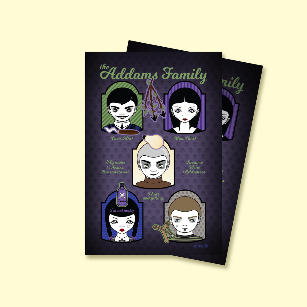 Image of The Addams Family x Katsolaween Postcard (Pre-order)