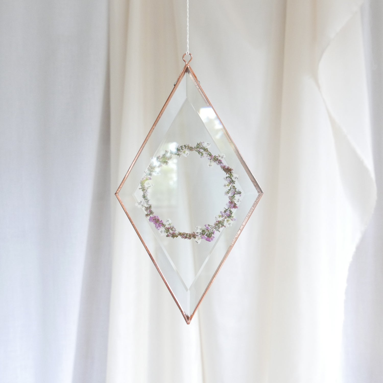 Image of Pressed Flower Suncatcher - Wreath Pink and White Erica