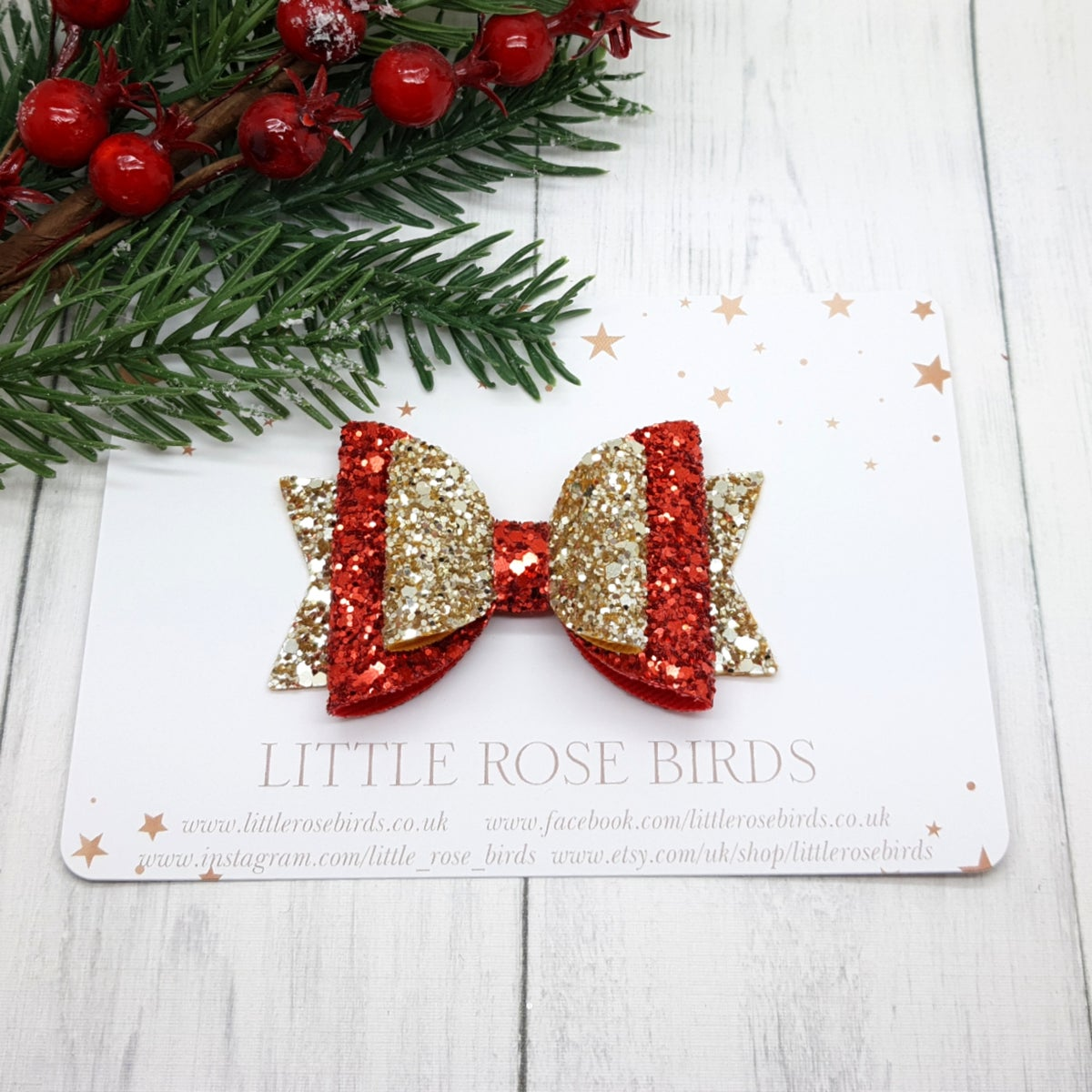 Image of Red & Gold Glitter Bow - Choice of Headband or Clip