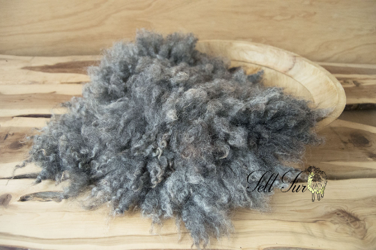 Image of Grey Fluffy Fur, Felted Rug (C180), Newborn Photography Wool Prop. Size C. Ready to Ship.