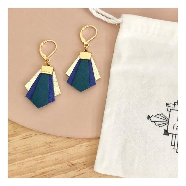 Boucles d'oreilles VADIM / bleu Klein-petrole-or