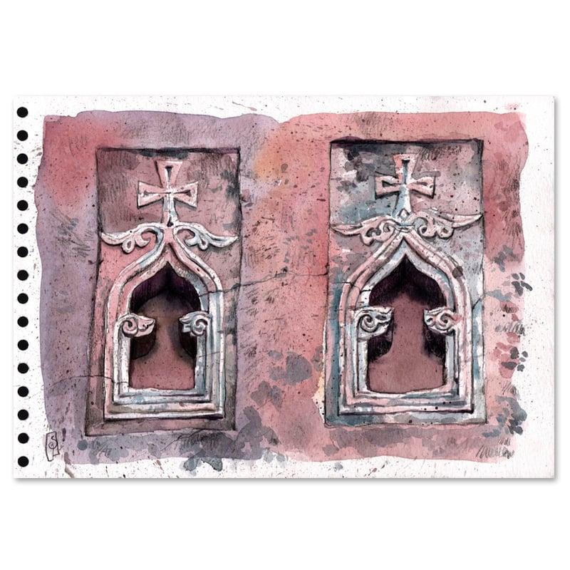 """Image of Original Painting - """"Fenêtres d'église à lalibela"""" - 21x30 cm"""