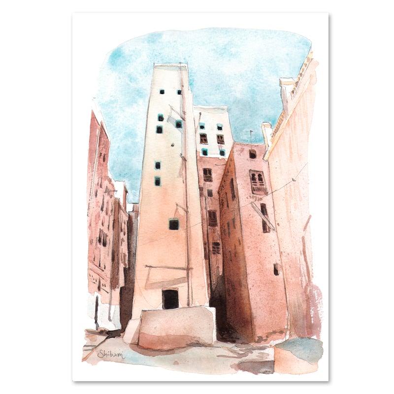 """Image of Original Painting - """"Les gratte-ciel de Shibam - Yemen"""" - 21x30 cm"""