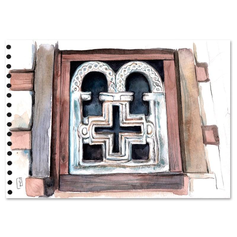 """Image of Original Painting - """"Fenêtre d'église orthodoxe à Lalibela"""" - 21x30 cm"""