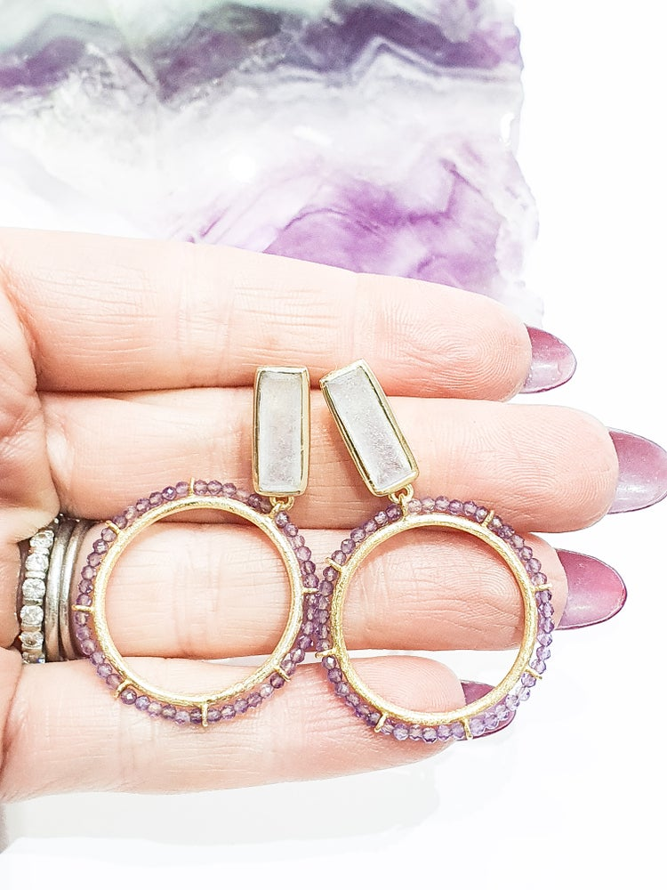 Image of Amethyst and Moonstone Hoops