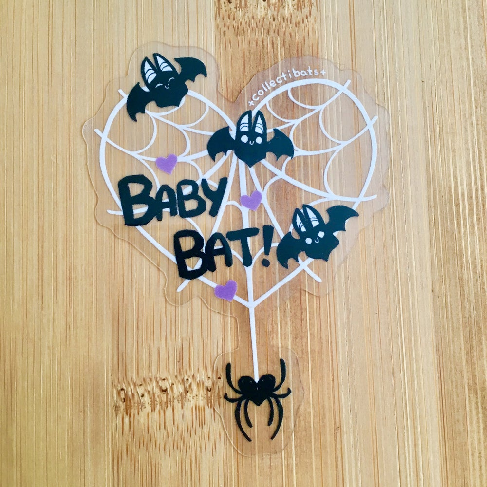 Baby Bat Cobweb Sticker - Clear