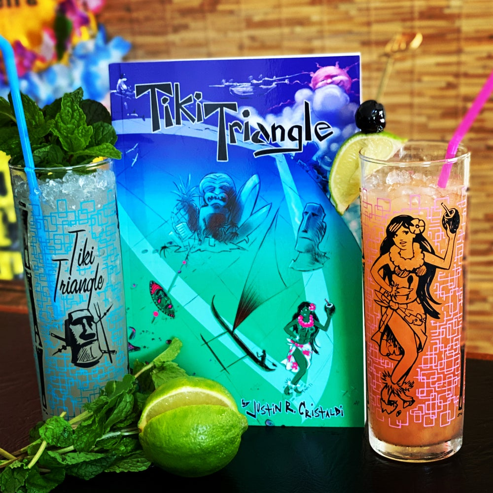 Image of SOLD OUT! Tiki Triangle Book with Set of 2 Zombie Highball Glasses - Email us to reorder