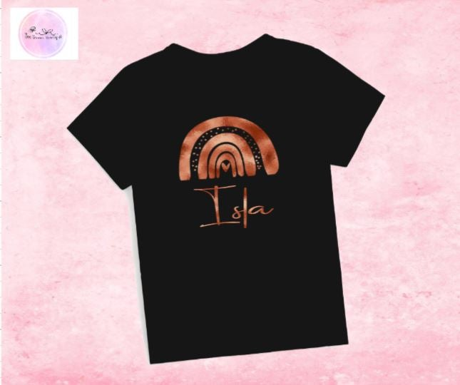 Image of Rose Gold Black Personalised Tee