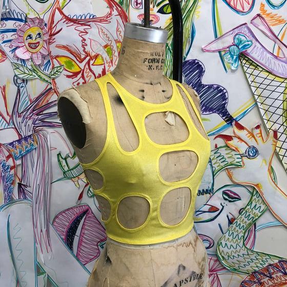 Image of Peep top metallic yellow