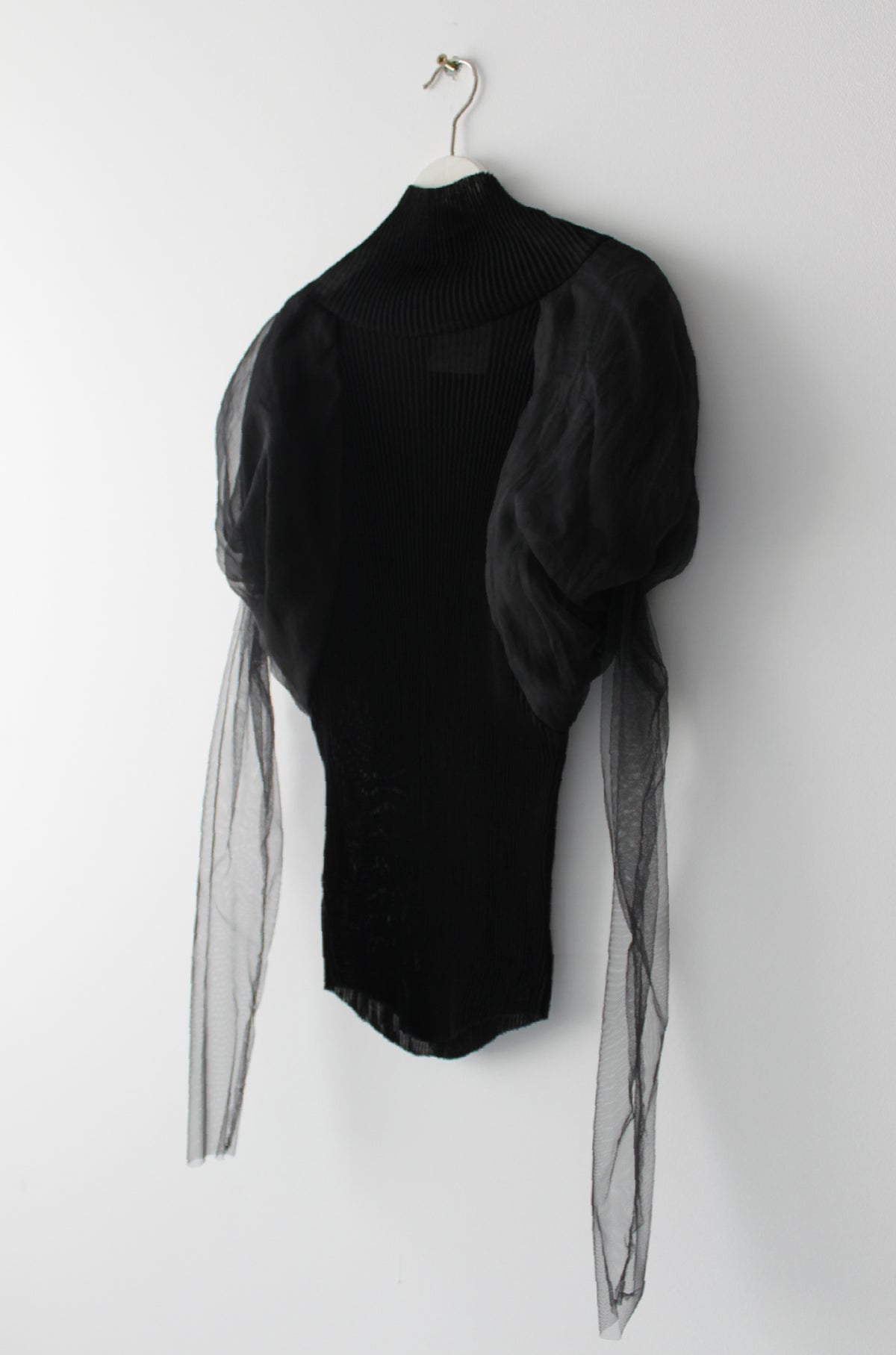 Pleated jersey ballon sleeve top - Black