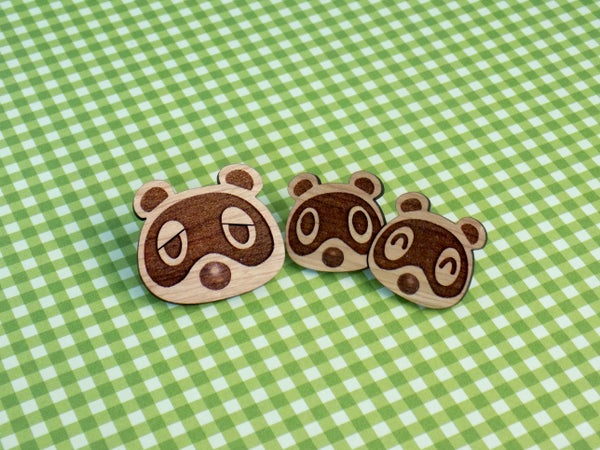 Image of Tanuki Friends Hardwood Pins / Magnets