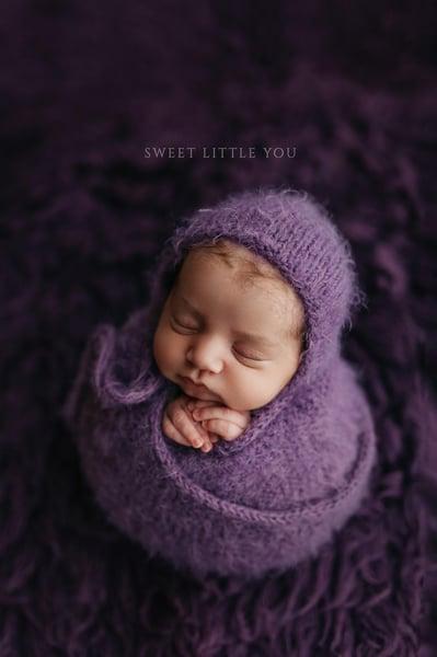 Image of Eggplant Fuzzy Bonnet {wrap option}