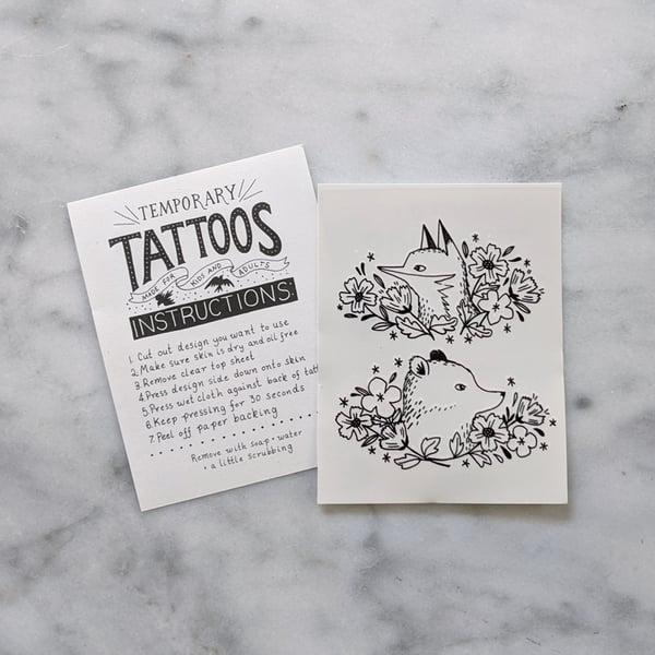 Image of Fox and Bear Cameo Temporary Tattoos