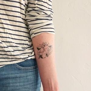 Image of Flowery Fox Temporary Tattoos
