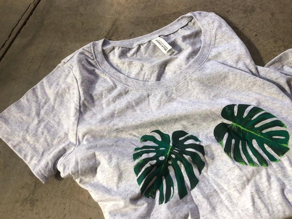 Image of Monstera t-shirt, gray, size Small