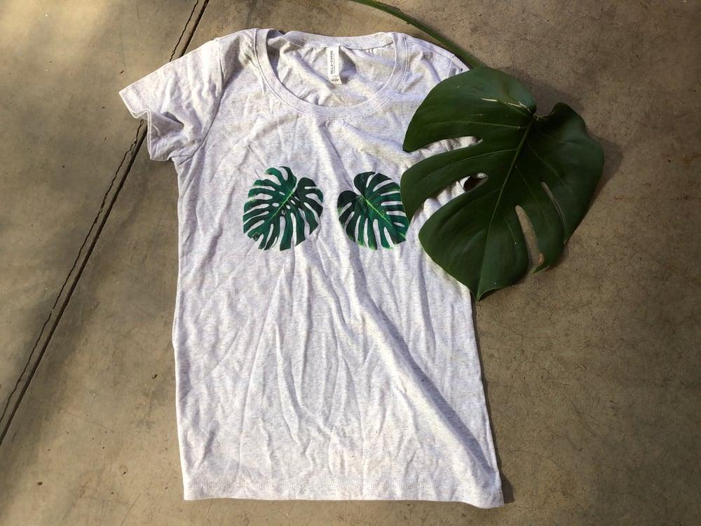 Image of Monstera t-shirt, gray, size Large