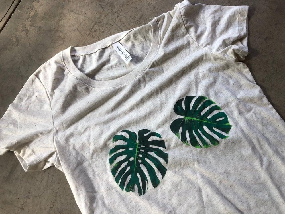 Image of Monstera t-shirt, cream, size Medium