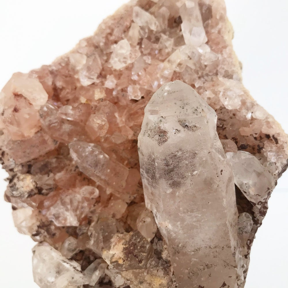 Image of Pink Himalayan Quartz no.45 + Lucite and Brass Stand