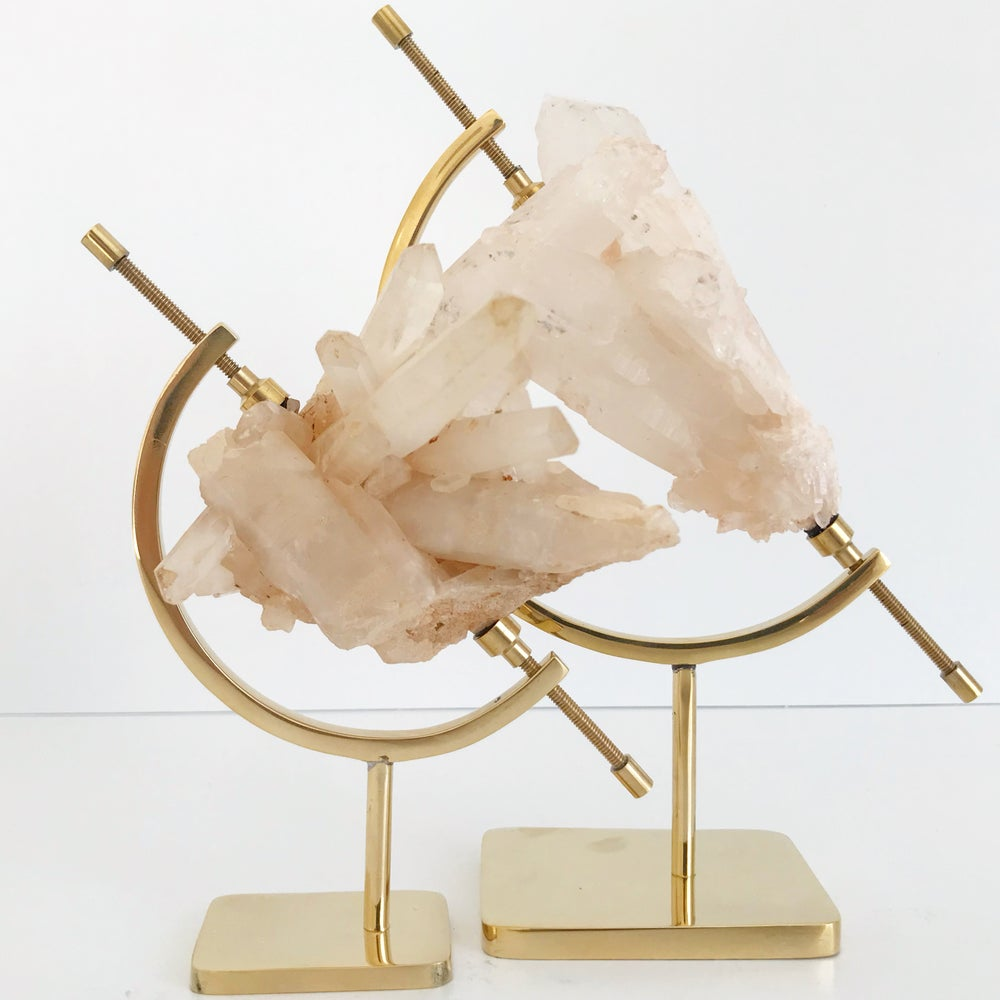 Image of Pink Quartz no.75 + Brass Arc Stand