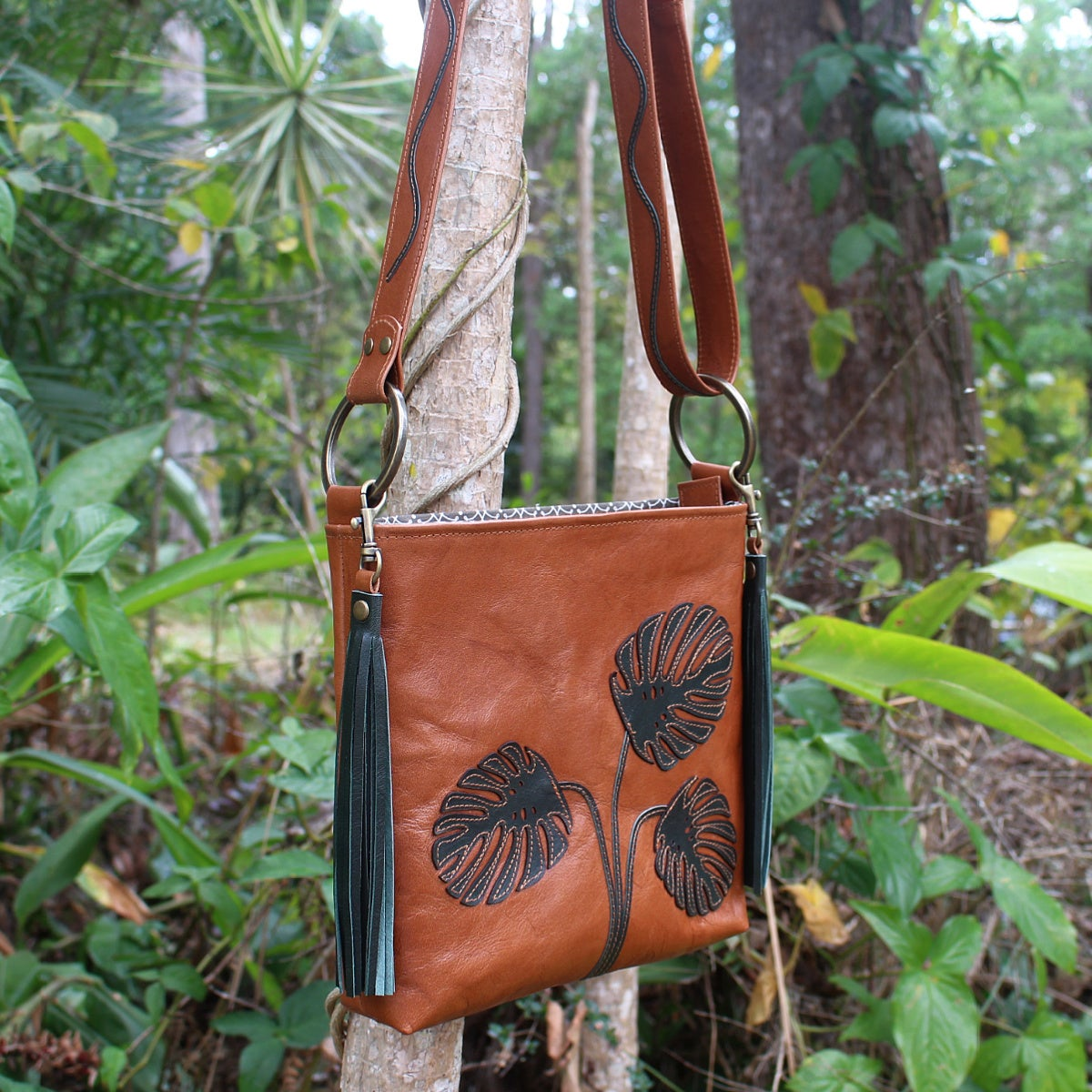 Image of Leather Hip Bag - Monstera Leaves