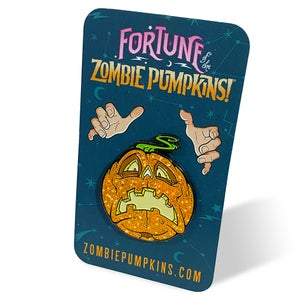 "Image of ""Fortune of the Zombie Pumpkins!"" Enamel Lapel Pin"