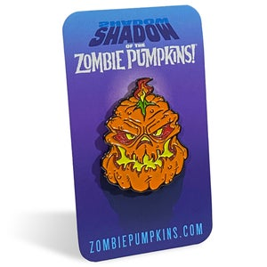 """Image of """"Shadow of the Zombie Pumpkins!"""" Enamel Lapel Pin"""