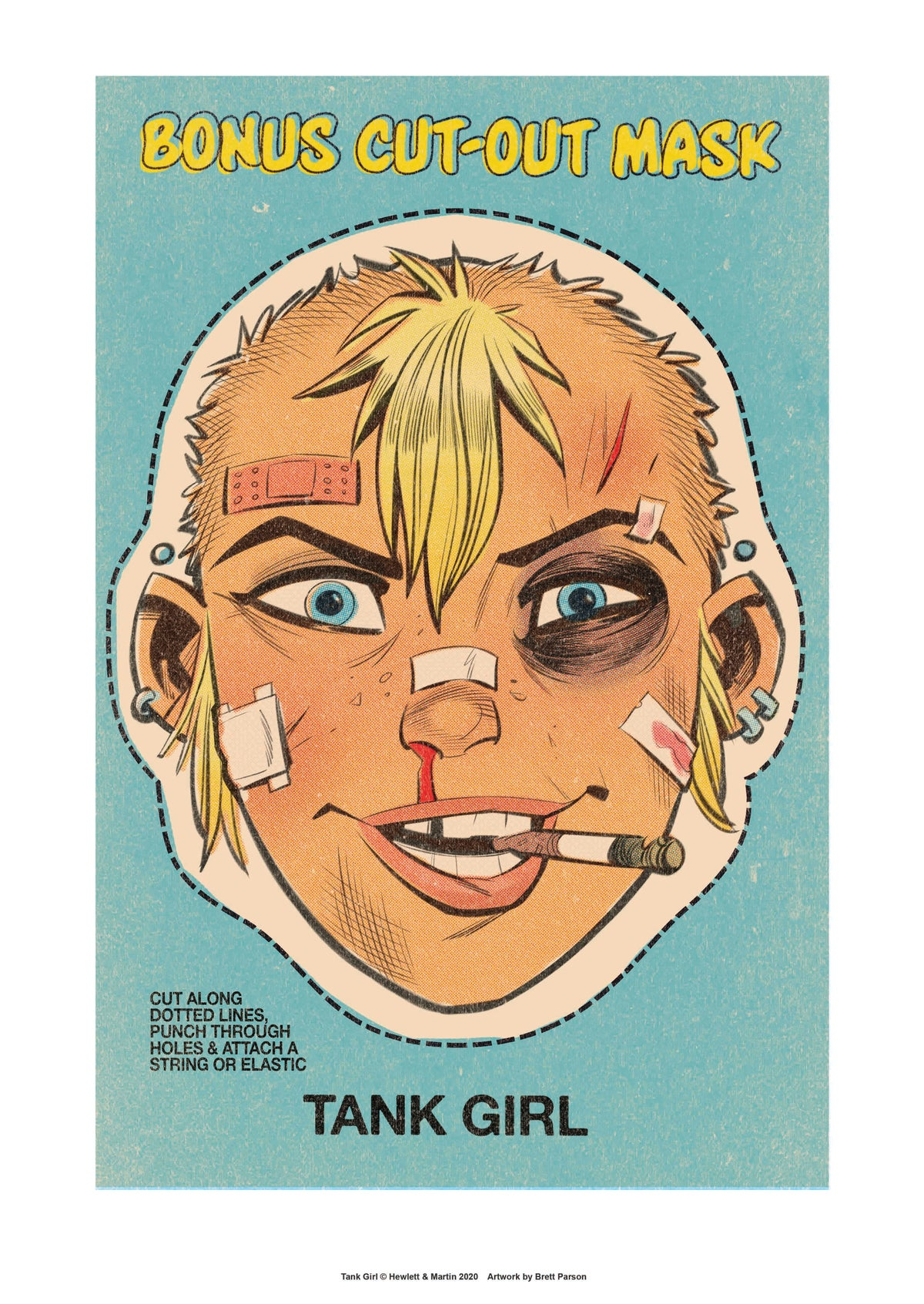 "Image of TANK GIRL ""STRONGER THIGHS"" POSTER - with bonus CUT OUT MASK PRINT"
