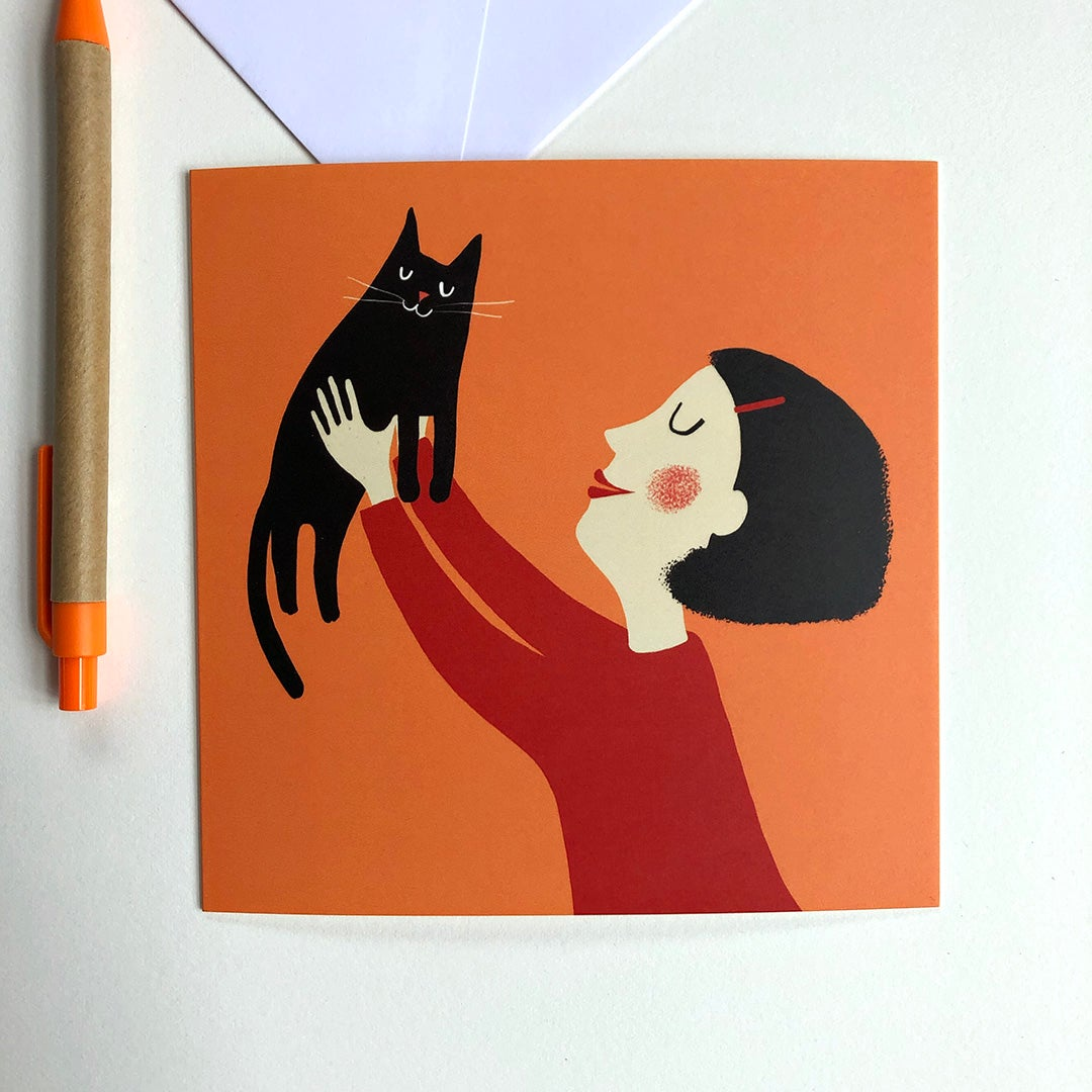 Greeting Card - Cat uplifted