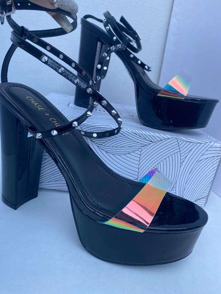 Image of Black Studded Platform heel