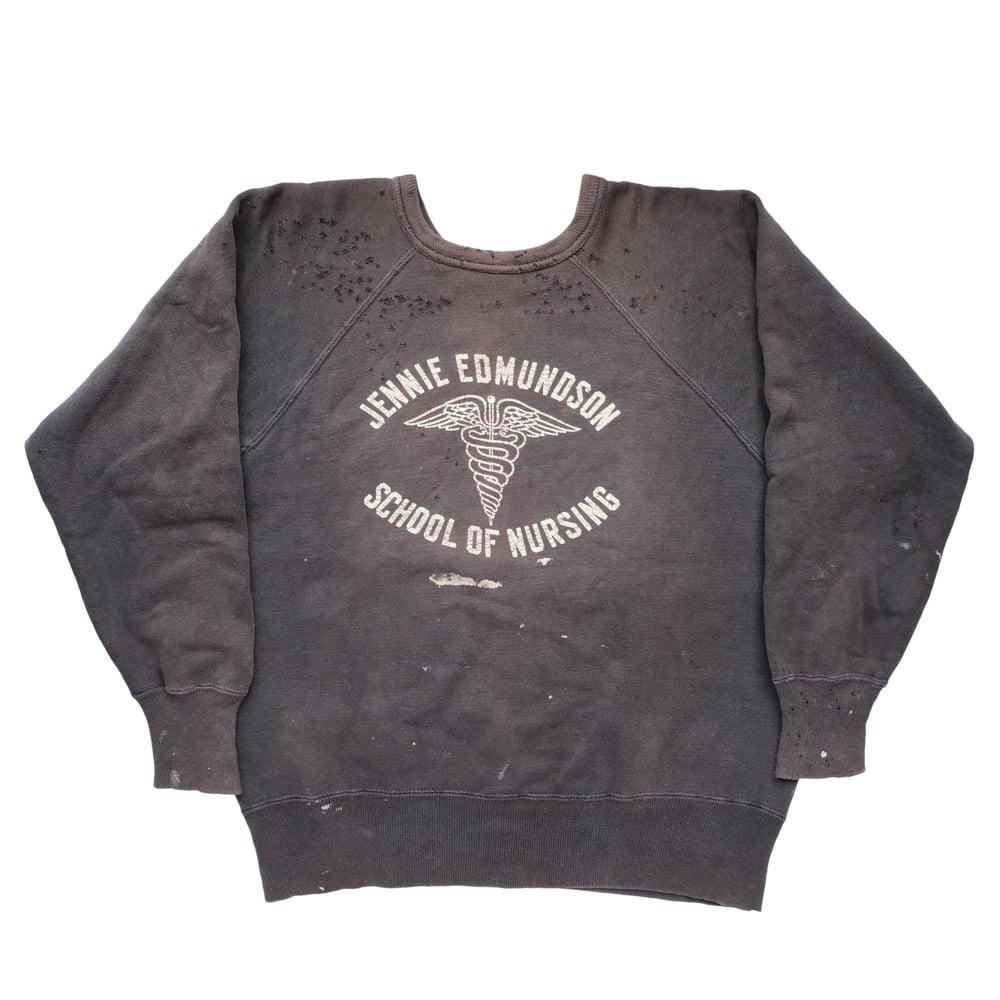 Image of Vintage 40s/50s Faded Black Nursing School Sweatshirt