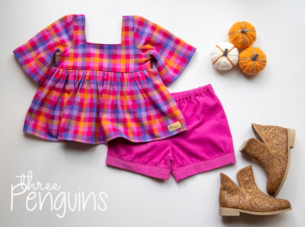 Image of Fall Plaid Short Set- Size 2/3