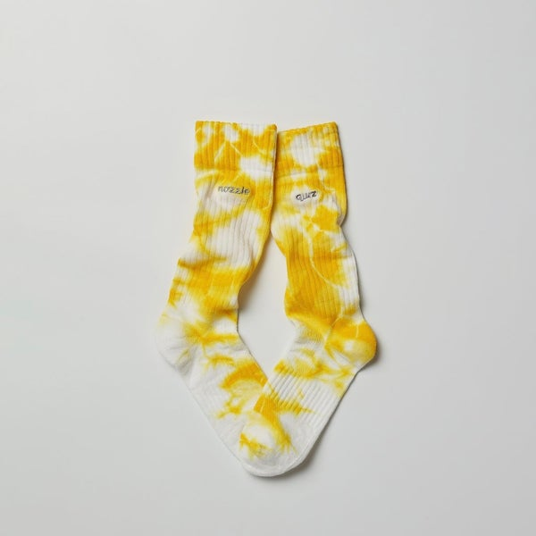 Image of NOZZLE QUIZ - Layers Tiedye Casual Cuff Socks (Yellow)